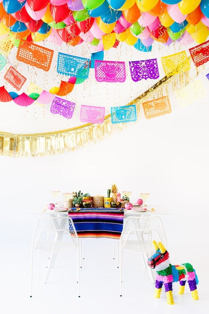 DIY Fiesta Balloon Ceiling for Cinco de Mayo party ideas