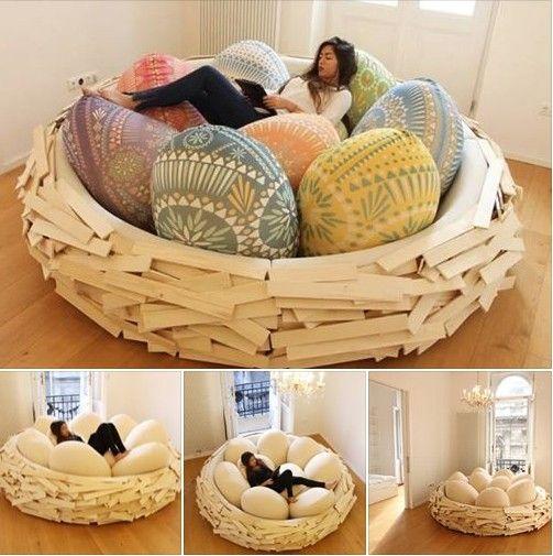 Cool Design of Giant BirdNest Bed  #diy #home design