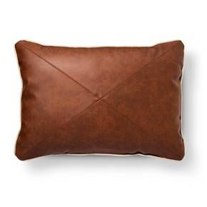 Leather Oblong Throw Pillow Brown - Threshold™ : Target
