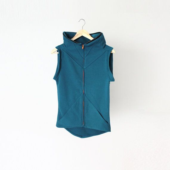 Teal geometric warm vest with high collar