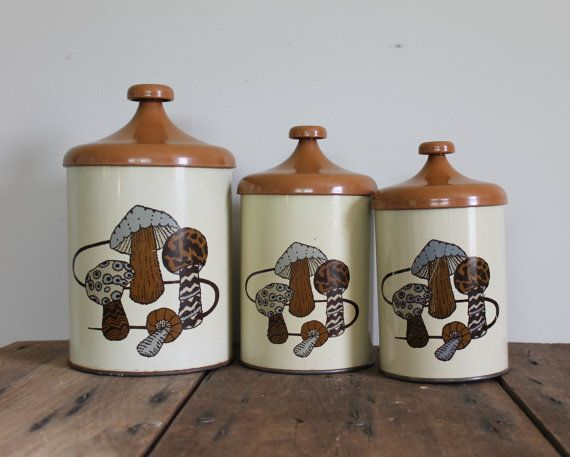 Vintage Mushroom Canisters Set Metal Plastic By TheSquirrelCottage