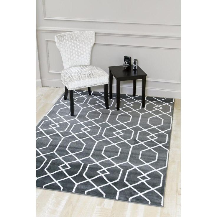 Persian Rugs Charcoal White Abstract Trellis Area Rug 7