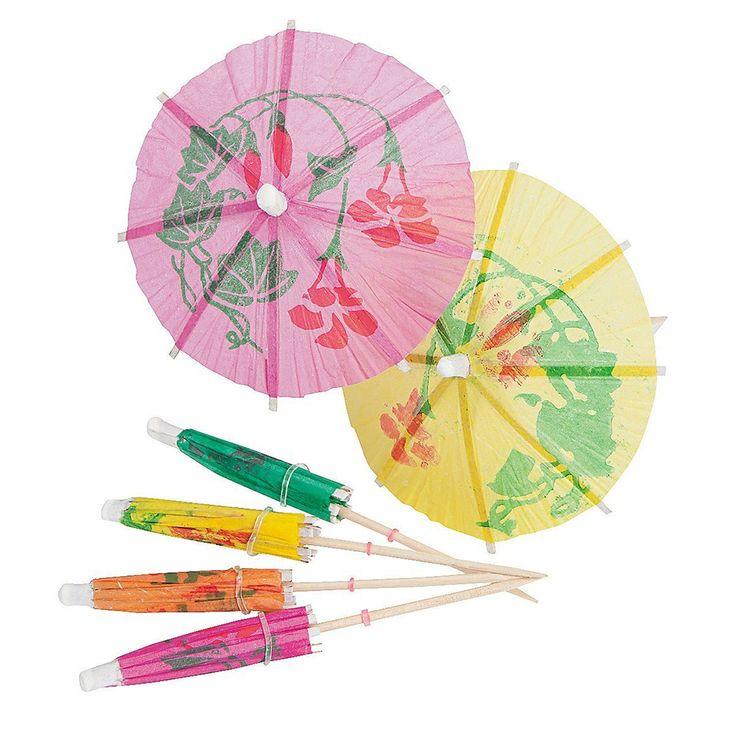 144pcs Paper Cocktail Drink Sticks Parasol Umbrella Picks Colorful Mixed Paper Umbrellas Parasols Picks for Party Drinks