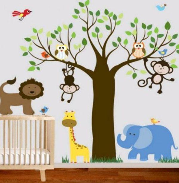 bunte wandgestaltung im babyzimmer - dschungel motive