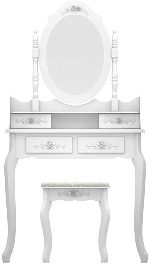 Pair Bed Stools: Henf Vanity Table Set,Wood Dressing Table With 360-Degree