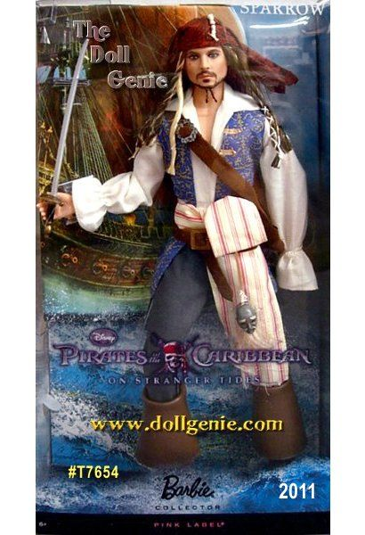 Prepare for adventure with swashbuckling style! KEN as Johnny Depp in Pirates of the Caribbean - On Stranger Tides Captain Jack Sparrow doll is sculpted to the likeness of star Johnny Depp, who plays him in the movie. This scoundrel sailor is dressed in a pirate shirt, blue and gold vest, and classic pirate boots. He completes his outfit with a sword at his side and a shrunken head strapped to his waist, and rocks a red bandana and dreadlocks. Designed by Linda Kyaw