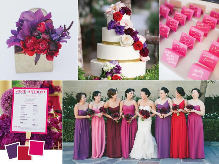 If you can't decide on just two colors for your wedding theme, try a range of hues like these jewel tones of eggplant, ruby, and fuchsia.