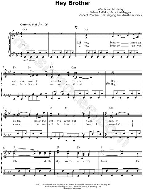 """Hey Brother"" by Avicii - Easy, transposable sheet music download.  $3.95 from music notes.com"