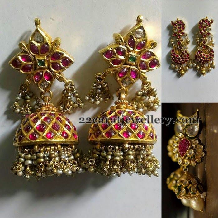Jewellery Designs: Excellent Craftsmanship Ruby Jhumkas