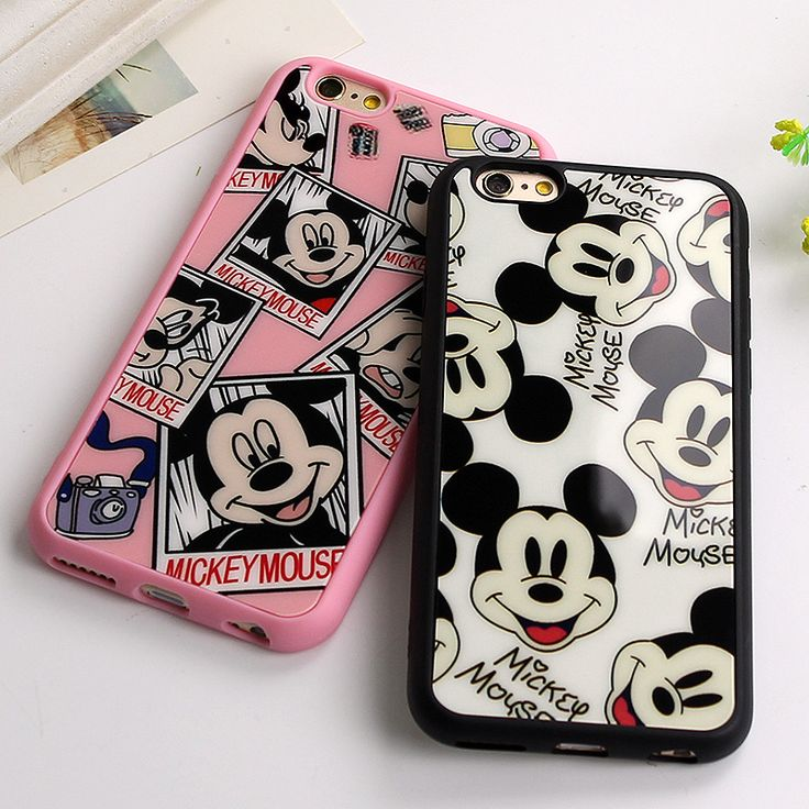 Silicone Soft Shockproof Phone Case for iphone 7 6 6s Plus 5 5S SE Mickey Mouse Rubber Mirror Cover For iphone 6 6s Plus 7 Plus #Affiliate