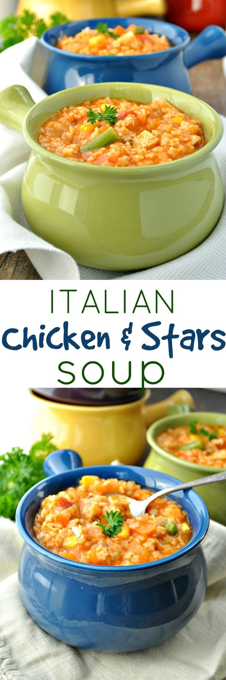 Only 5 minutes of prep for this healthy Italian Chicken & Stars soup recipe! It's a one-pot meal that's easy, fast, and very kid-friendly!