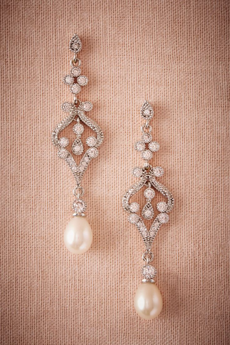 crystal & pearl bridal jewelry | Marquise Earrings from BHLDN
