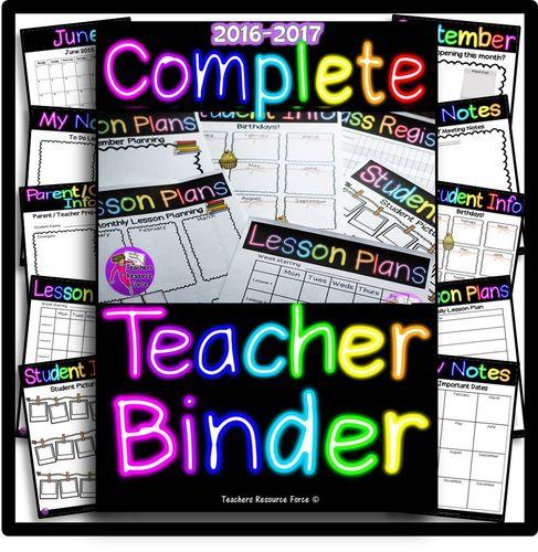 Complete Editable Teacher Planner 2016-2017