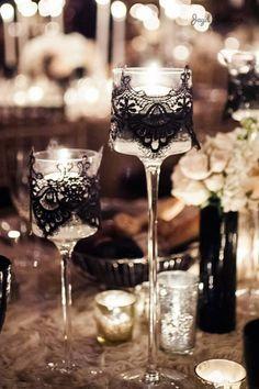 Floating candles, black lace, Art Deco wedding, winter wedding