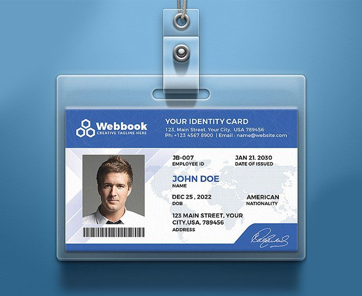 Creative Id Card Psd Template Free Download In 4 Colors Inside Template For Id Card Free Download In 2020 Psd Template Free Card Templates Free Id Card Template