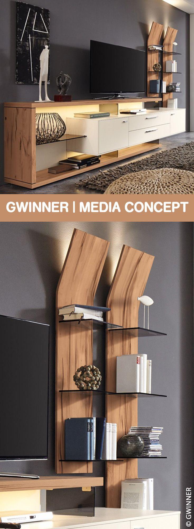 Gwinner Wohnwand Media Concept MC906 weiß/ Wildkernbuche | Möbel Letz – Ihr Online-Shop