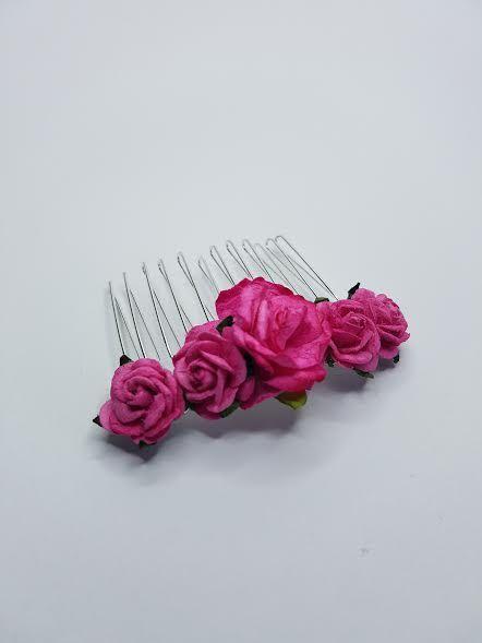 Peine de cabello rosado pelo nupcial peine peine flor