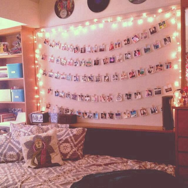 Fairy lights and polaroid hanging