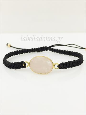 Labelladonna.gr - Μακραμέ βραχιόλι PinkStone