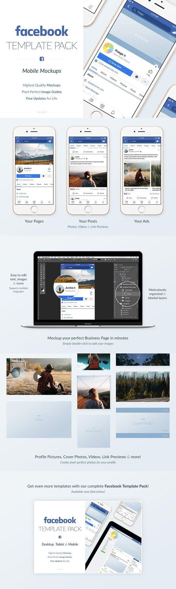 Facebook Mobile Mockups Pack Mobile Mockup Social Media Template Facebook Mockup