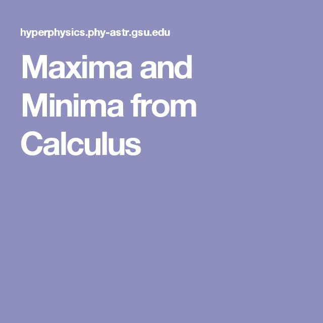 Maxima and Minima from Calculus