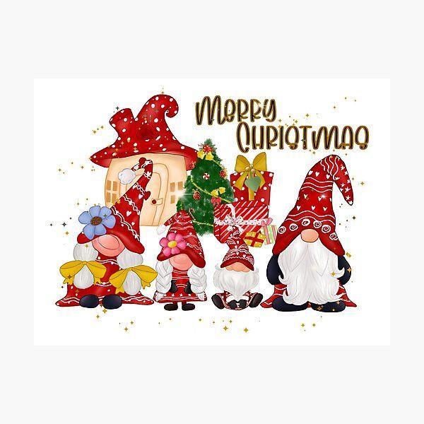 Cute Christmas Gnomes Family Merry Christmas Gnomes Photographic Print By Rainbowjoy Redbubble Christmas Gnome Merry Christmas Cute Christmas Wallpaper