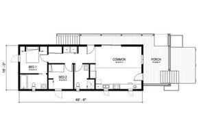 CASA LINEAL CON DOS DORMITORIOS    Una casa ideal para terrenos angostos. En el plano podemos apreciar una planta con porch frontal, living cocina comedor, dos baños y dos dormitorios.