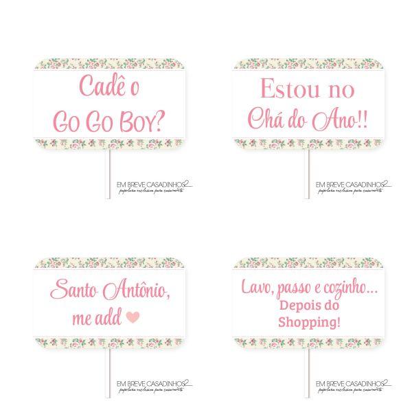 Plaquinhas para chá de cozinha, chá de cozinha floral. Adquira na loja: loja.embrevecasadinhos.com.br