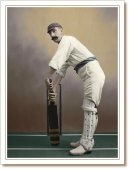 Victorian cricketer with handlebar moustache