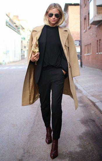 Total black look + #camelcoat