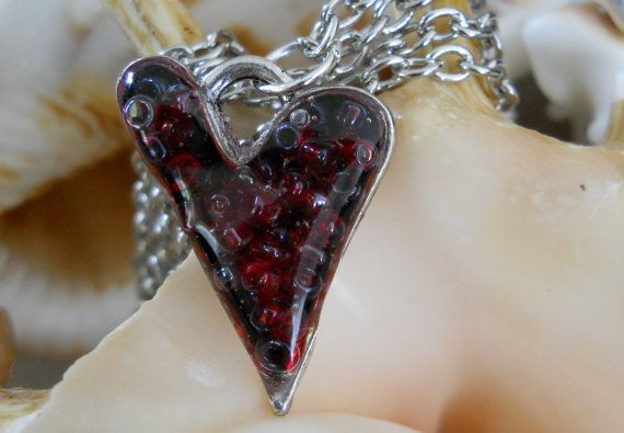 Resin Heart Beaded Pendant Necklace by JewelleryByJody on Etsy, $19.00