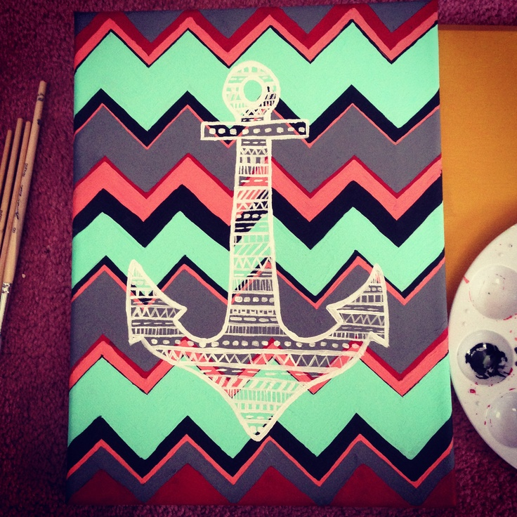 Chevron/Anchor painting by Nicole Marilyn 02/09/2013
