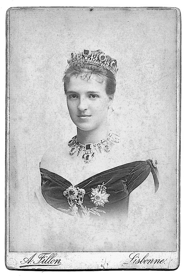 Amelie, wearing a lovely diamond and emerald parure, image taken soon after her wedding to Carlos, Prince Royal of Portugal in 1886.