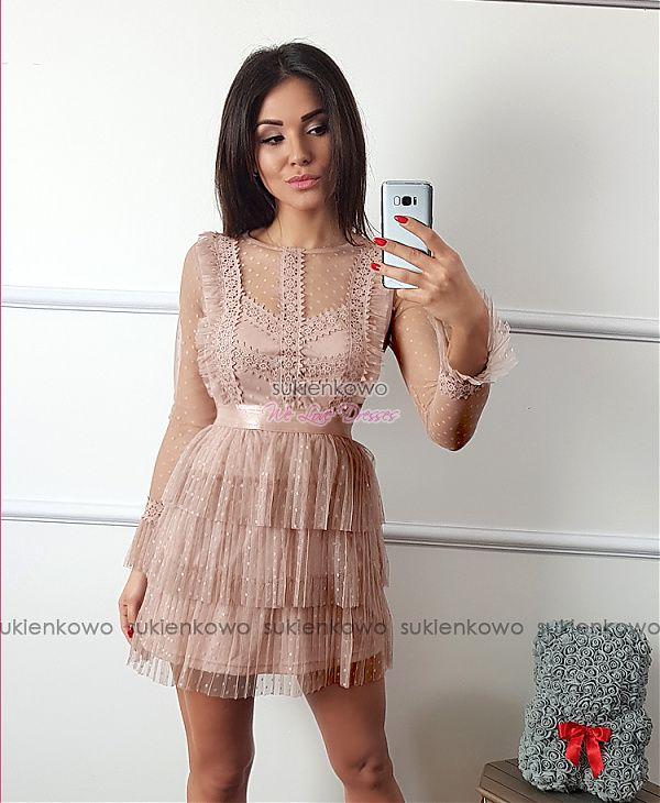 90ff1a23 Sukienkowo.com - FREYA - Plisowana sukienka z falbanami i żabotem ...