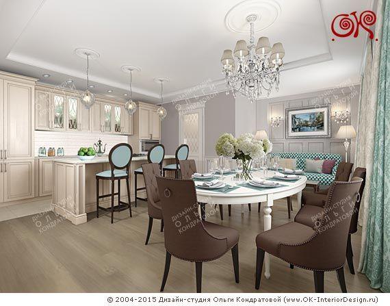 Дизайн кухни-столовой в квартире http://www.ok-interiordesign.ru/blog/dizayn-kuhni-stolovoy-shokolad-mayata.html