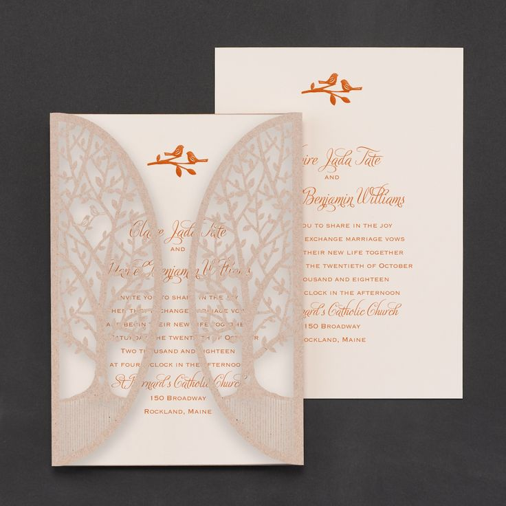 lace wedding invitation wrap%0A Enchanted Garden Invitation  Your wedding will be enchanting  Set the tone  with this diecut tree wrap in kraft paper and your wording on an ecru card