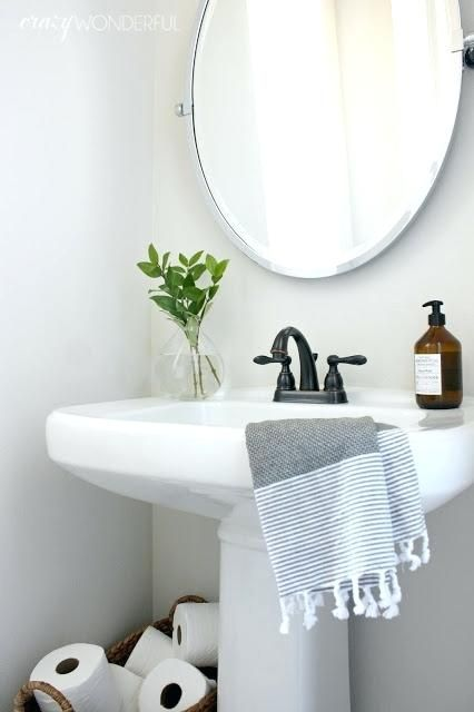 Mirror Over Pedestal Sink Bathroom Lighting Round Our Fifth House Crazy Wonderful Size