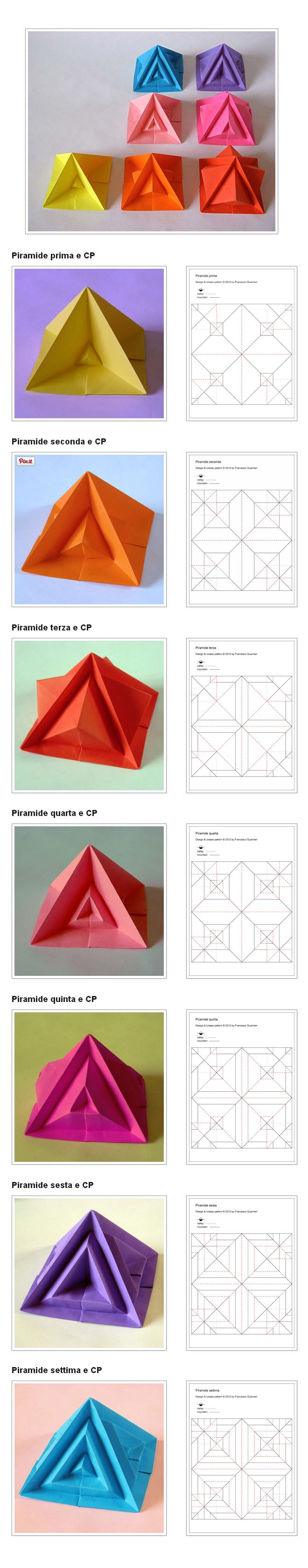 Origami: Piramide settima e varianti - Seventh pyramid and variants, by Francesco Guarnieri