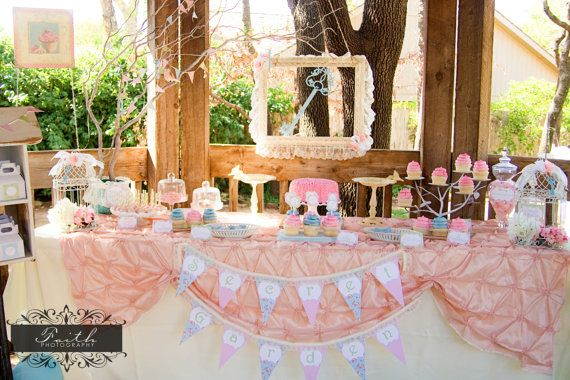 Secret Garden Party - Girls Shabby Chic Birthday - PRINTABLE Personalized Party Package - With Photo Invitation