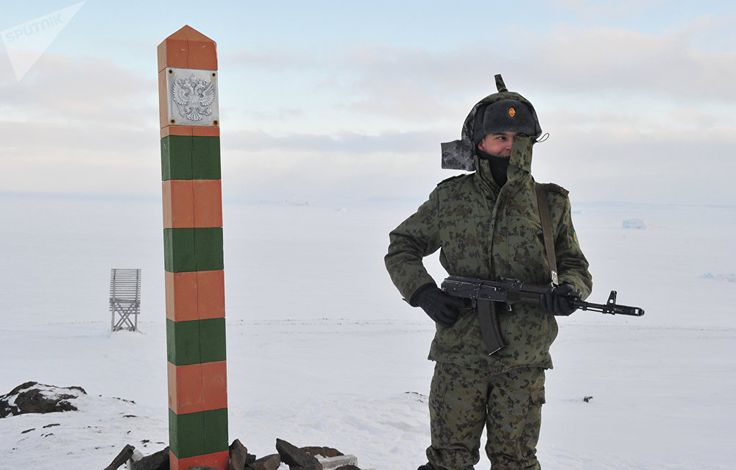 Russian border guard stationed at the Nagurskoye station of the Federal Border Guard Service of Arkhangelsk region, located on Alexandra's Land island of Franz Josef Land archipelago.