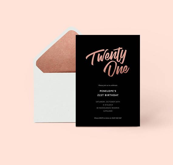 21st Rose Gold Birthday Invitation Birthday Invite Formal