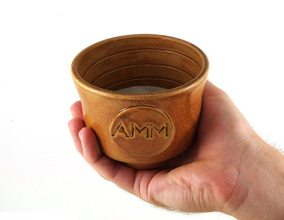 Personalized Shave Bowl with Monogram or Initials, Custom Wet Shaving, Groomsmen Gift, Unique Pottery Handmade Gifts for Men
