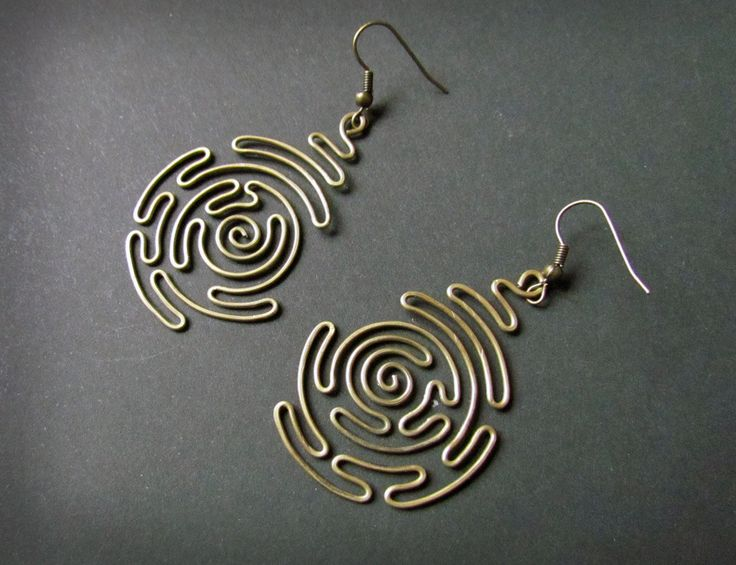 Spiral Labyrinth, Wire Wrapped Brass Earrings by Hvitolg on etsy