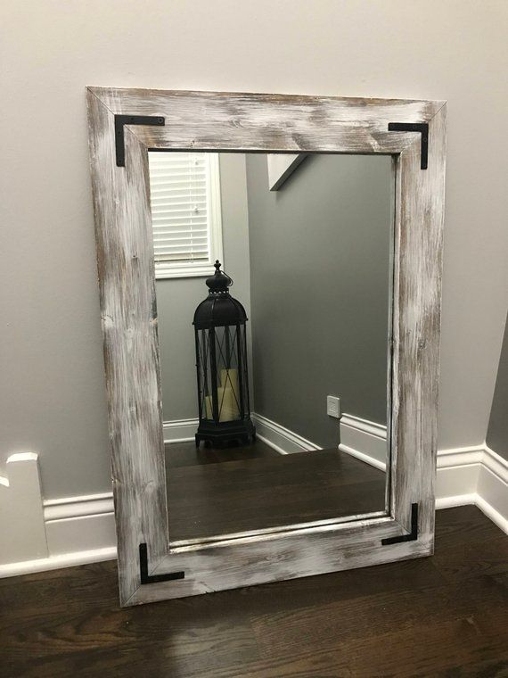 Whitewash Mirror Wood Frame Mirror Rustic Wood Mirror Etsy Wood Framed Mirror Mirror Frame Diy Wood Mirror Bathroom