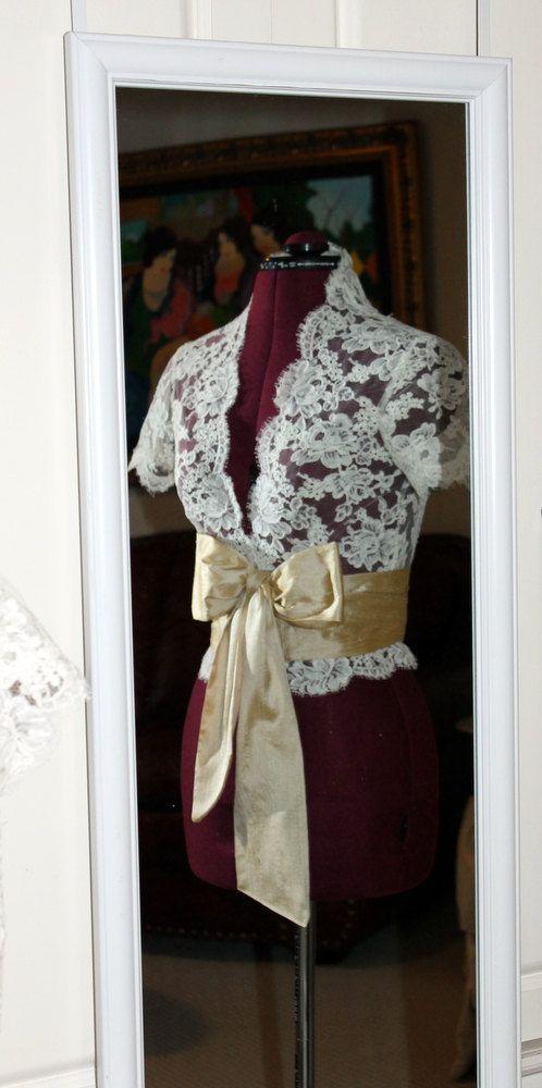 Custom Alencon Lace Wedding Jacket - Short or Capped Sleeves. $325.00, via Etsy.