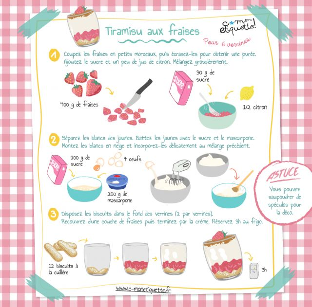 Recette de tiramisu aux fraises