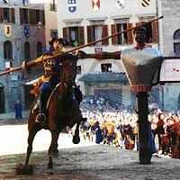 Arezzo has a famous historic pagent twice a year an antique jousting match from the Medieval times and played all the way up until XVIII secolo, it was brought back in 1931.