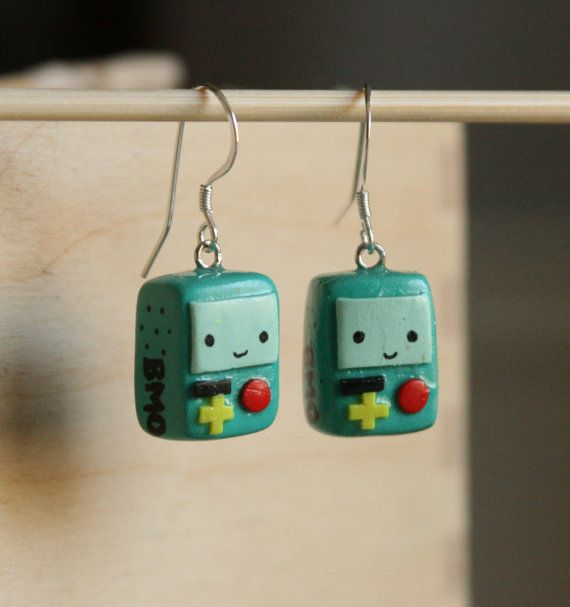 Sterling Silver Polymer Clay BMO 'Beemo' Dangle EARRINGS Adventure Time Jewelry dangley on Etsy, $20.00