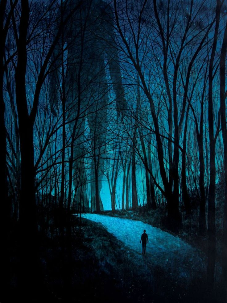 Fear of Forests at Night - Art by Daniel Danger #Night #Forest