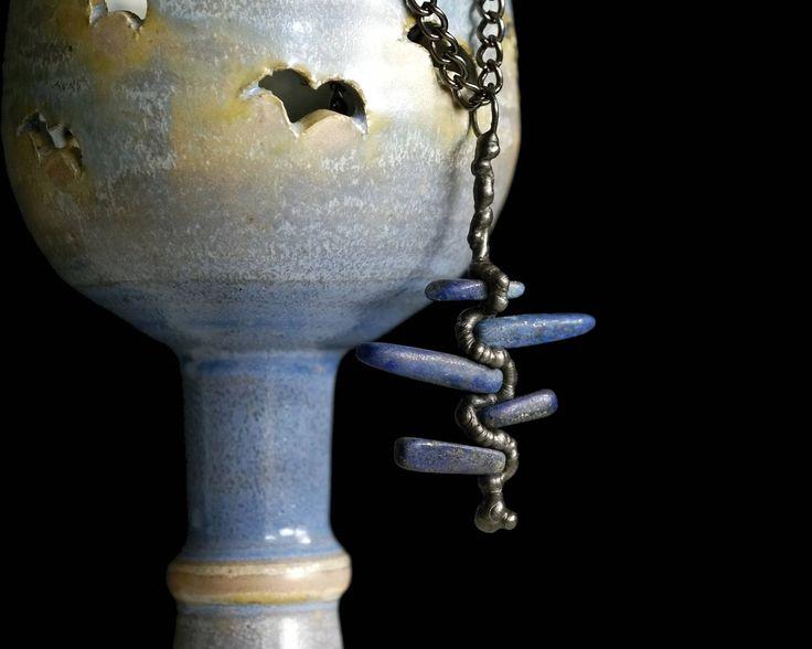 lapis lazuli necklace, statement  necklace, metalwork, gemstone, OOAK, natural stone, Tiffany method, handmade by pentaxPL on Etsy